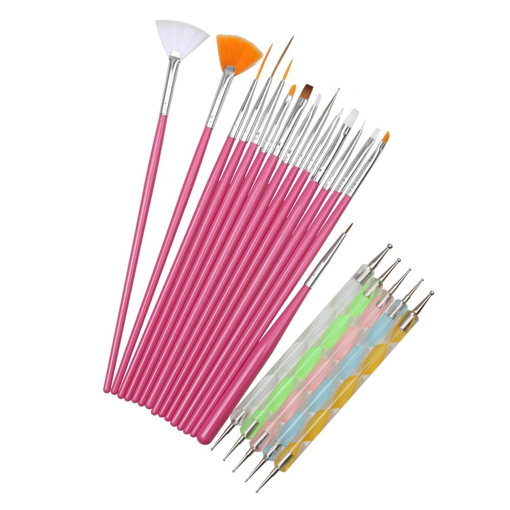 20pcs Women Nail Art Design Set Dotting Painting Drawing Polish Brush Pen Tools