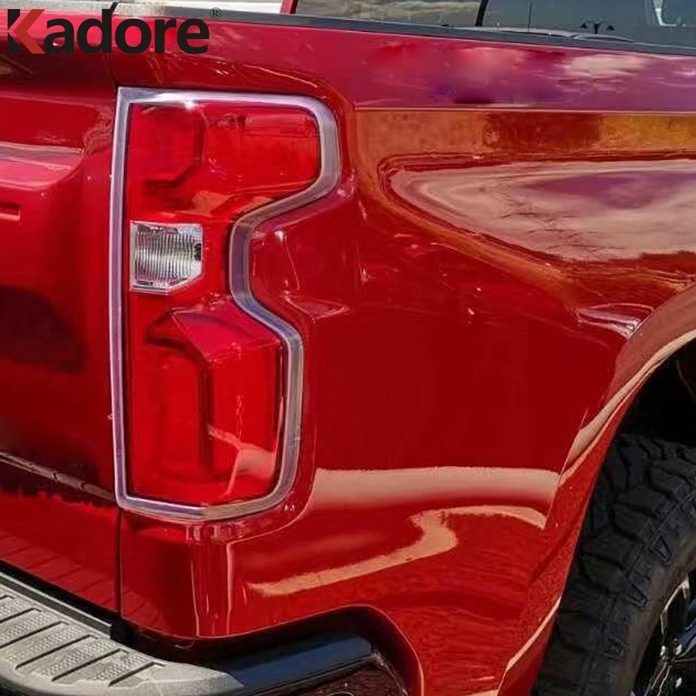 Para Chevrolet plateado 1500 2019 2020 ABS cromado cubierta de luces traseras de coche pegatina de ajuste de luz trasera accesorios de diseño de coche