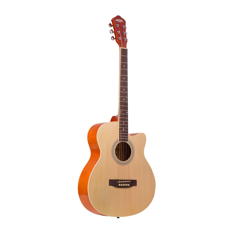 Guitar 40 inch Cutaway Acoustic Folk Guitar 6 Strings Basswood with Strap Gig Bag Capo Picks High-quality