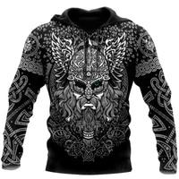 mens fashion hoodies vikings odin tattoo 3d full printed sweatshirt unisex zip casual jacket dy87