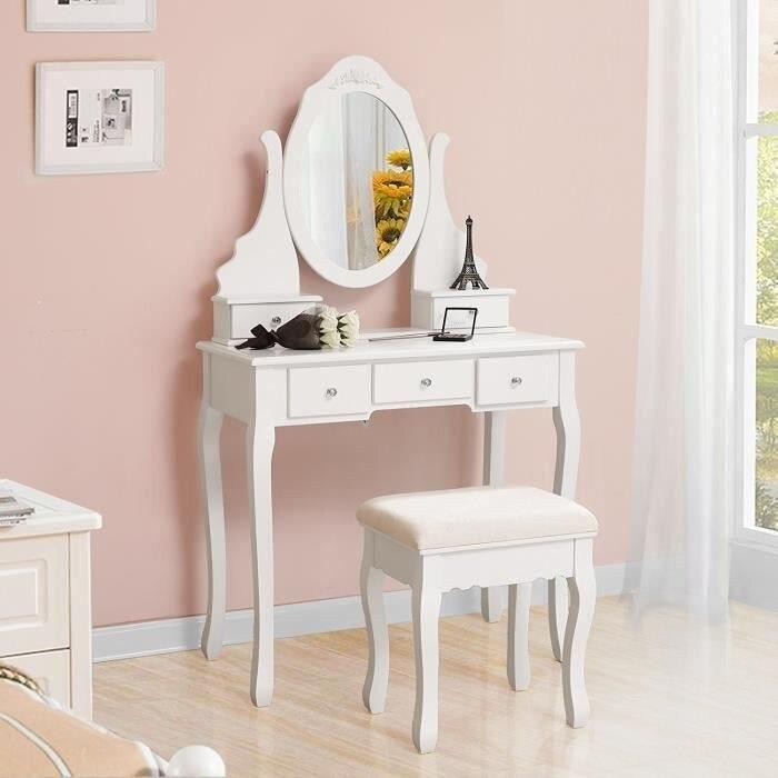 طاولة خلع الملابس مع البراز خمسة درج طاولة تخزين ذات سعة كبيرة منضدة خلع الملابس مع مقعد مريح ومرآة قابلة للتدوير