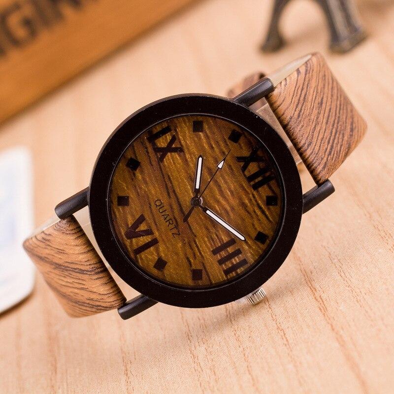 Wooden Watches Luxury Women Ladies Watch Roman Numerals Wood PU Leather Band Analog Quartz Vogue Wri