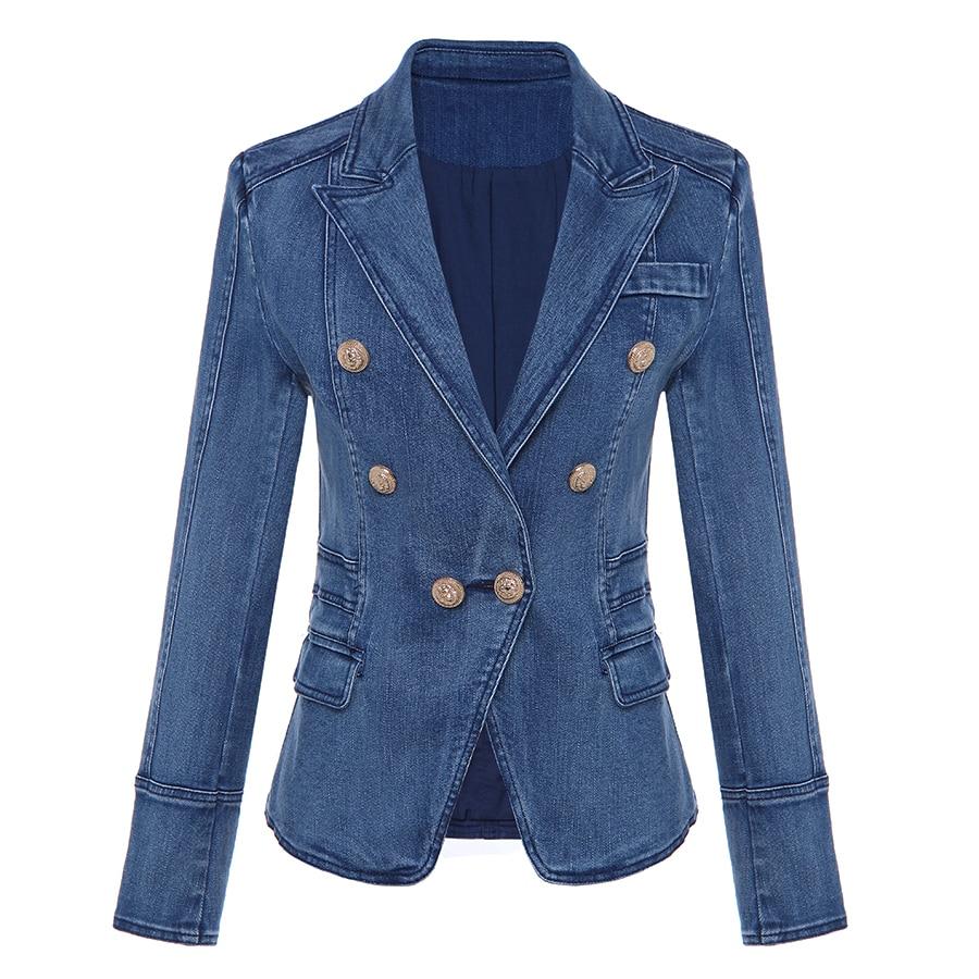 New Fashion 2021 Designer Blazer Women's Metal Lion Buttons Double Breasted Denim Blazer Jacket Outer Coat