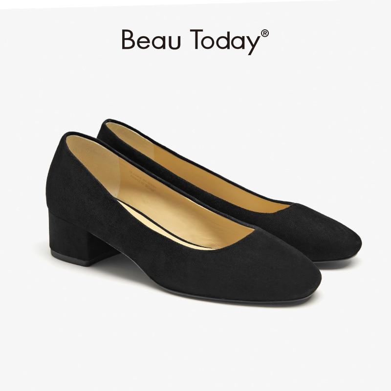 BeauToday مضخات النساء طفل جلد الغزال مكتب أحذية السيدات جولة تو الضحلة الانزلاق على كعب سميك أحذية عمل اليدوية 15302
