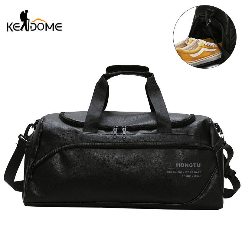 Shoulder Soft Leather Gym Bags Travel Bag for Men Men Sports Fitness Gymtas Duffel Training Luggage Tas Sac De Sport 2019 XA5WD