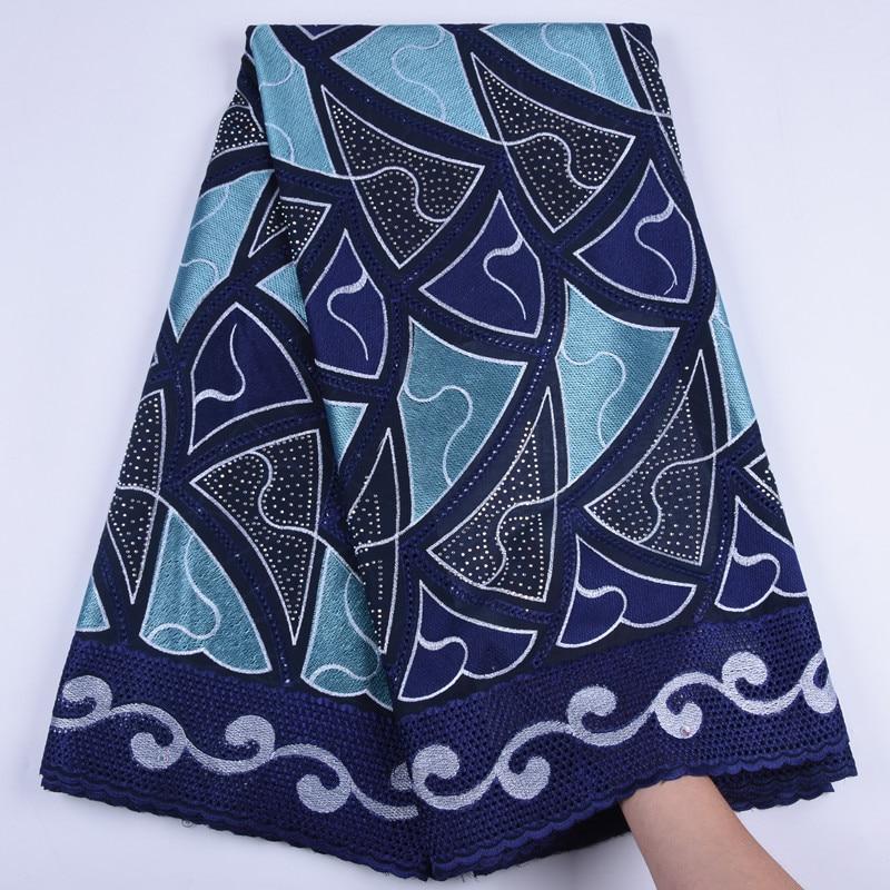 Beau tissu en dentelle de coton africain nigérian   Dernier motif de voile avec pierres pour fête, robes de mariage A1718