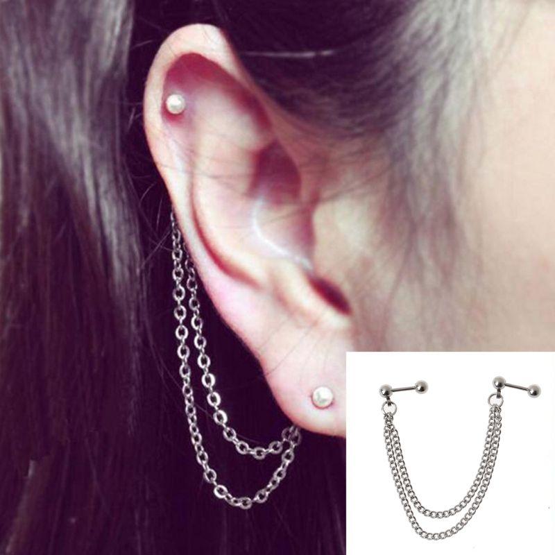 1Pc Punk Ball Stud Cartilage Ear Cuff Wrap Double Chain Piercing Earring Unisex