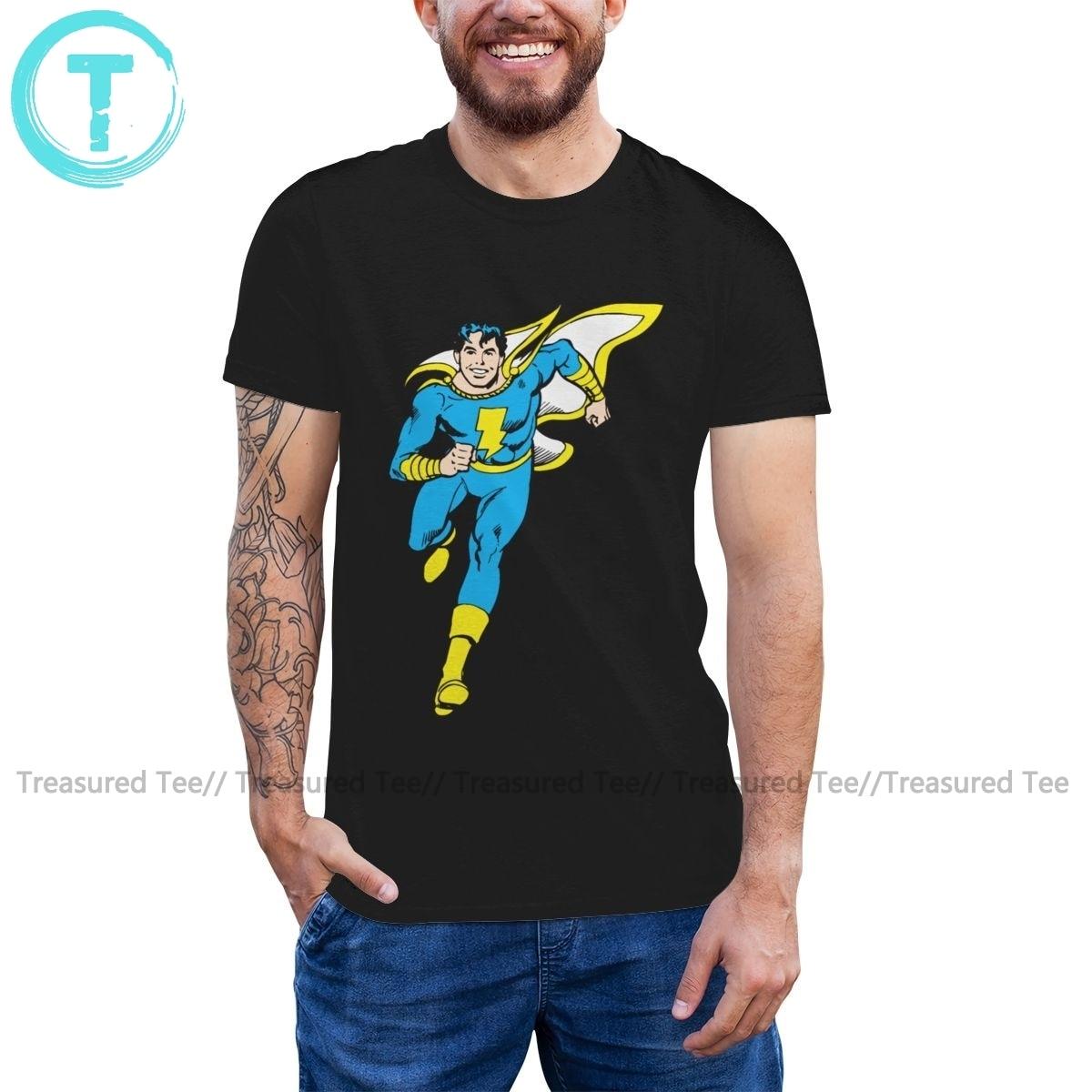 Shazam, camiseta para correr juvenil, camiseta de talla grande de manga corta, camiseta divertida de algodón con estampado para hombre, camiseta de playa