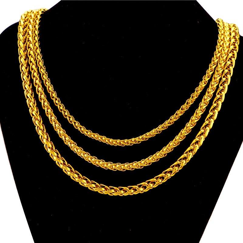 24K الذهب الأصفر مطلي القلائد للرجال الفيتنامية ثعبان العظام الذهب سلسلة عنق قلادة الزفاف المشاركة غرامة مجوهرات هدايا