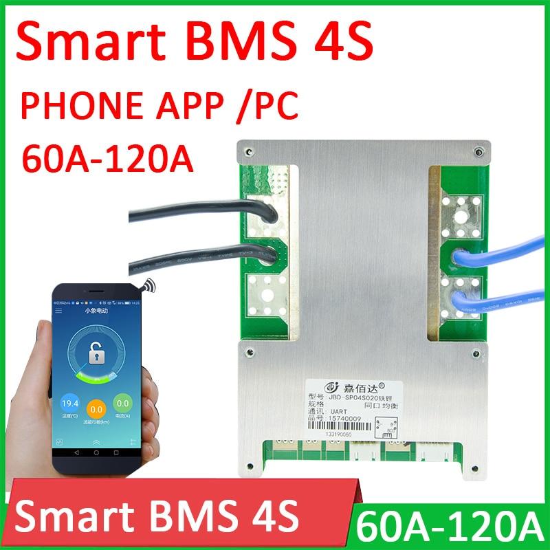 Smart BMS 4S 12V 60A 80A 100A 120A Li-ion LifePo4 Lithium Protection Board balance High Current Bluetooth APP PC monitor