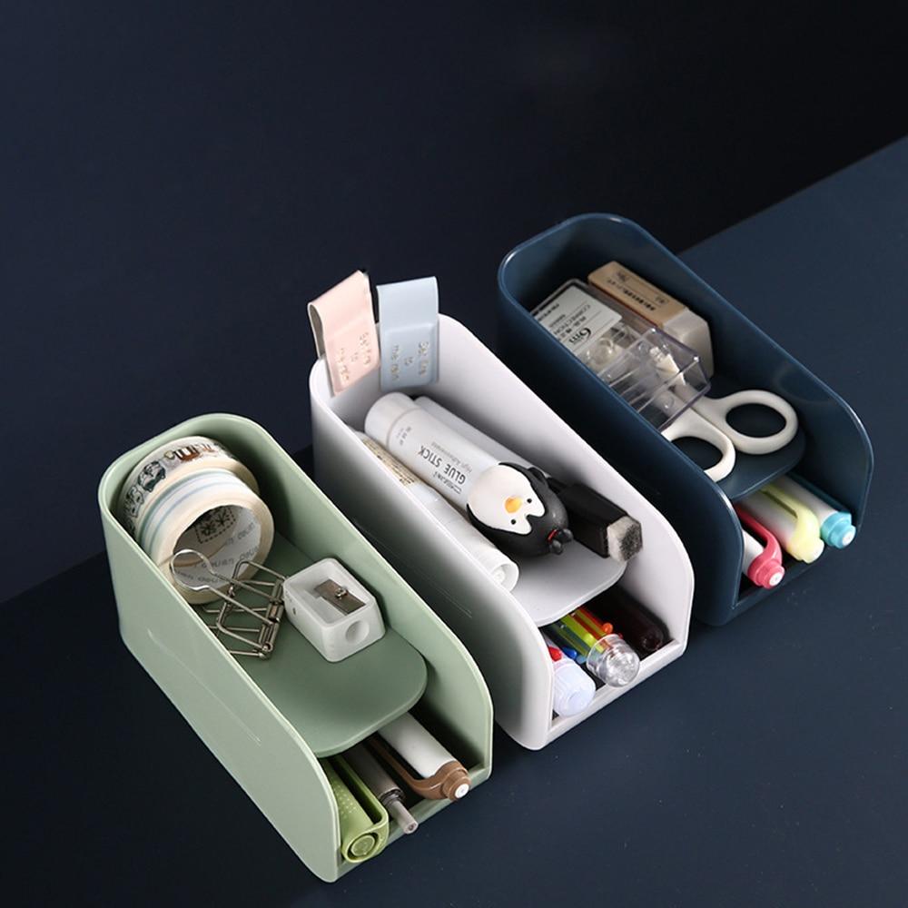 Двухуровневый Настольный ящик для хранения, пластиковая офисная ручка, канцелярский чехол, многофункциональный органайзер для хранения ко...