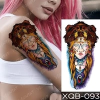 tatouage temporaire femme fake tattoo sleeve for woman transfer stickers totem kit glitter arm shoulder bear day of the dead art