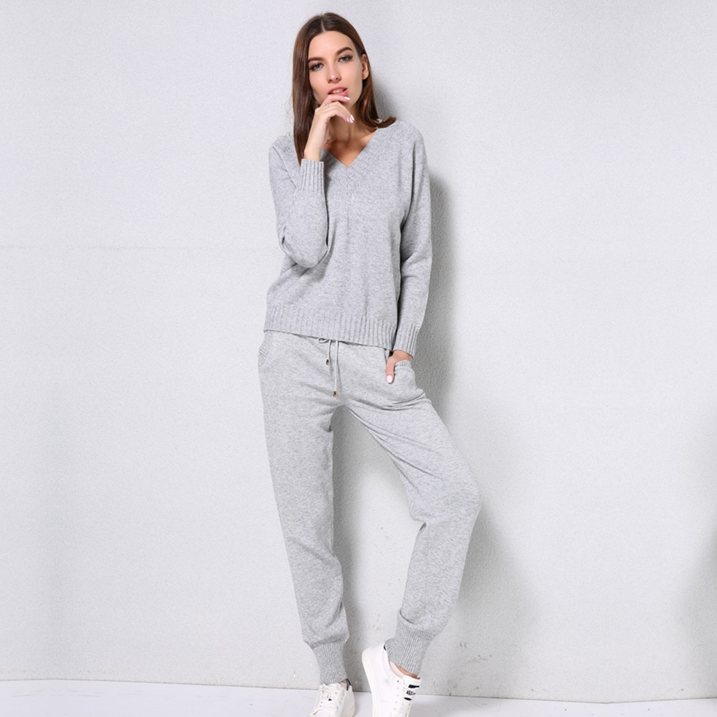 Knitted Set Women's Autumn winter Woolen and Cashmere Knitted Suit V neck Sweater Tracksuit Women Hoodies Two-Piece Set knit
