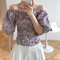 2020 summer off the shoulder puff sleeve flower print sexy blouses boho women shirt blusas roupa feminina outwear