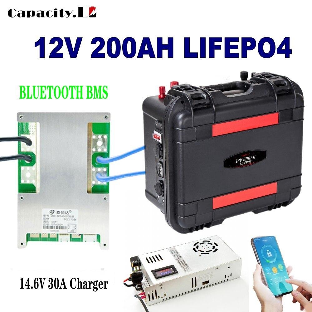 بطارية 12 فولت lifepo4 200ah RV قابلة للشحن ليثيوم الحديد 100 أمبير بطارية شمسية 150AH مع بلوتوث bms للمحرك في الهواء الطلق