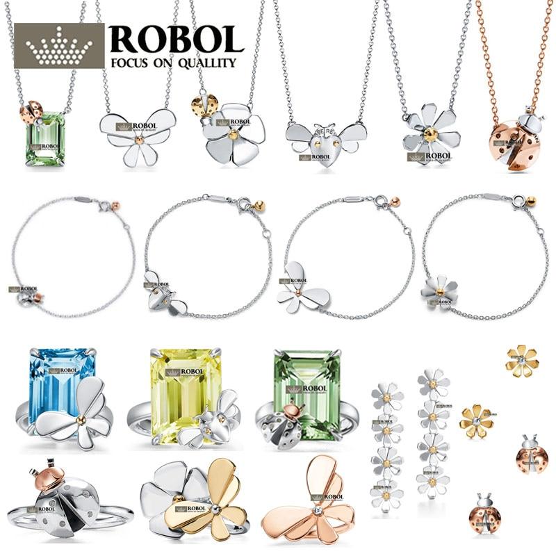Collar de anillo de Plata de Ley 925 original de alta calidad con diseño de mariposa y Flor de sol, ideal para fiestas y bodas