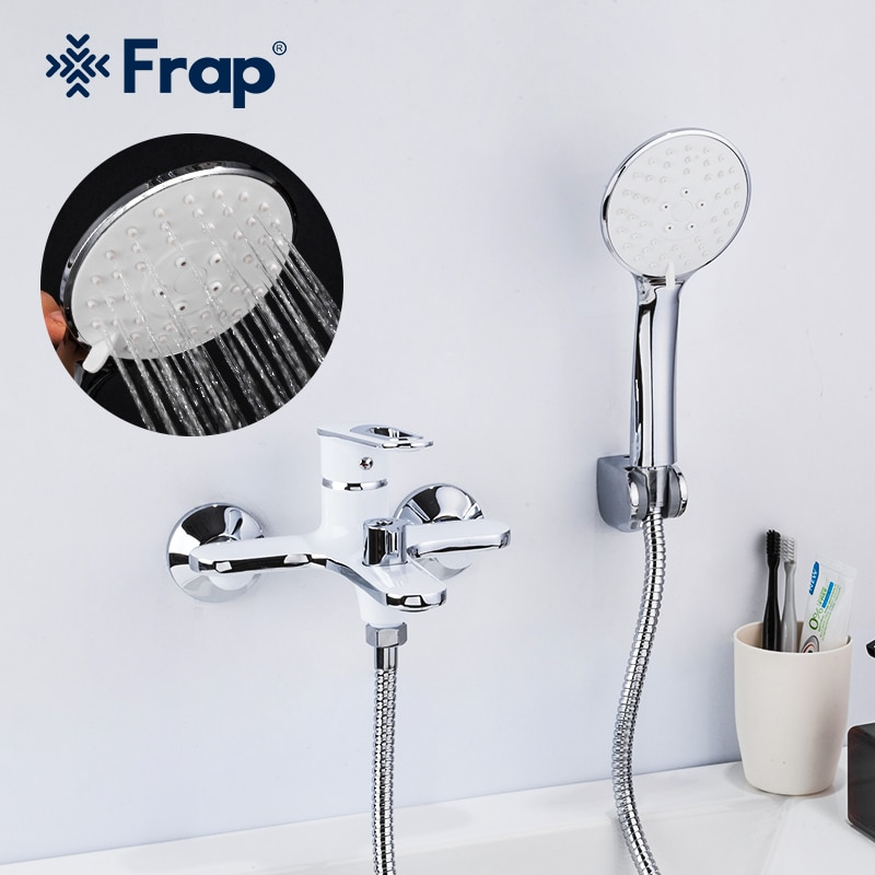 Frap White Bathtub Faucet Waterfall shower bathroom mixer Wall Mounted Hot & Cold Water Mixer Taps Bath Shower Faucet F3249 bath wall shower set black bathroom shower taps with handshower wall mounted sqaure rain ceiling shower bathtub mixers els89