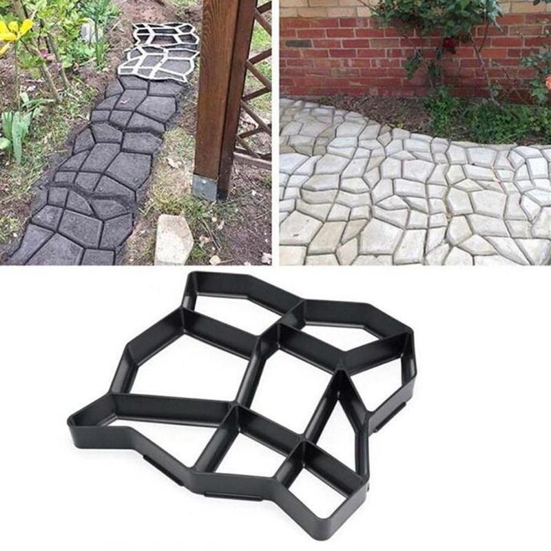 Moldes de hormigón para decoración del jardín, pavimentadora de diseño de piedra de cemento reutilizable, herramientas de molde para caminar, pavimento de suelo de jardín
