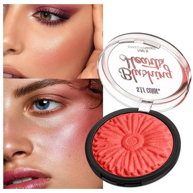 Paleta de colorete, Control de aceite, cara roja, Naranja, Rosa, colorete, polvo para hornear, maquillaje coreano