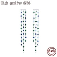 s925 silver needle 2021 fashion jewelry high quality geometric tassel earrings exquisite long earrings inlaid with crystal