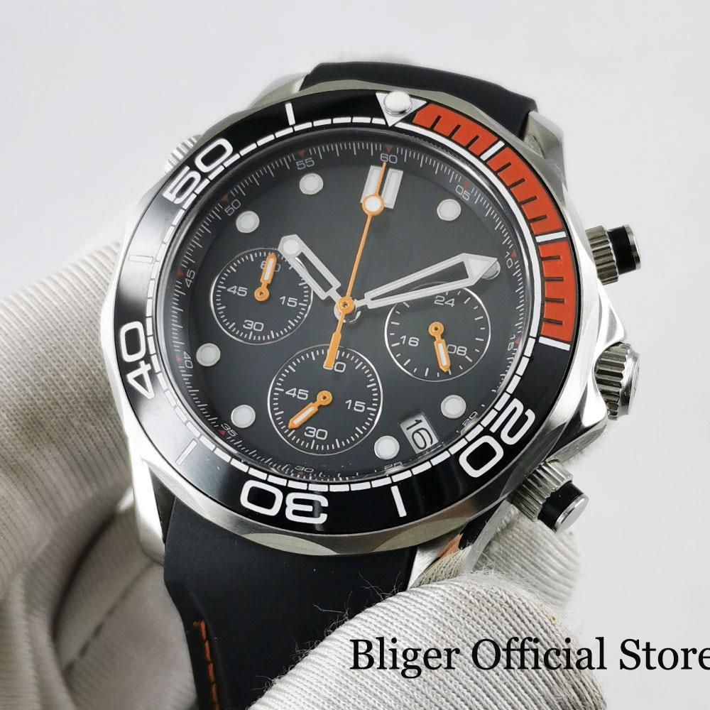 Reloj de cuarzo de 41mm de marca BLIGER con función de cronógrafo y fecha para hombre, esfera de nolego, cristal de zafiro, bisel de cerámica, correa de goma