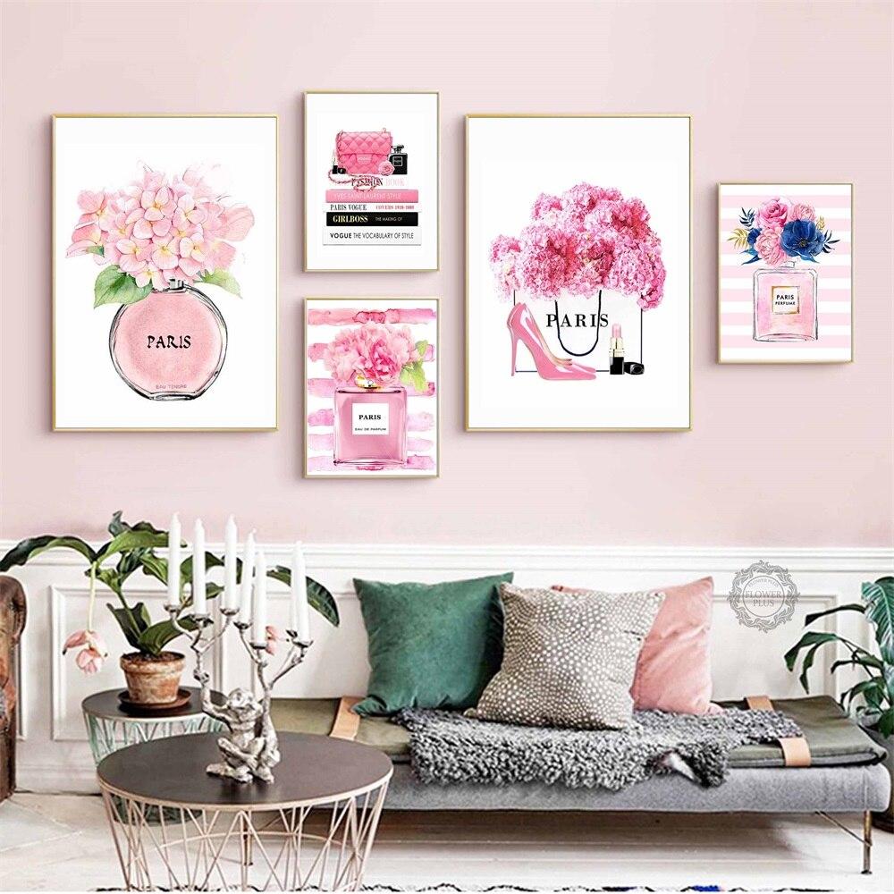 Moda París Perfume libro flor bolso carteles nórdicos e impresiones arte de pared lienzo pintura cuadros de pared decoración quadro cuadros