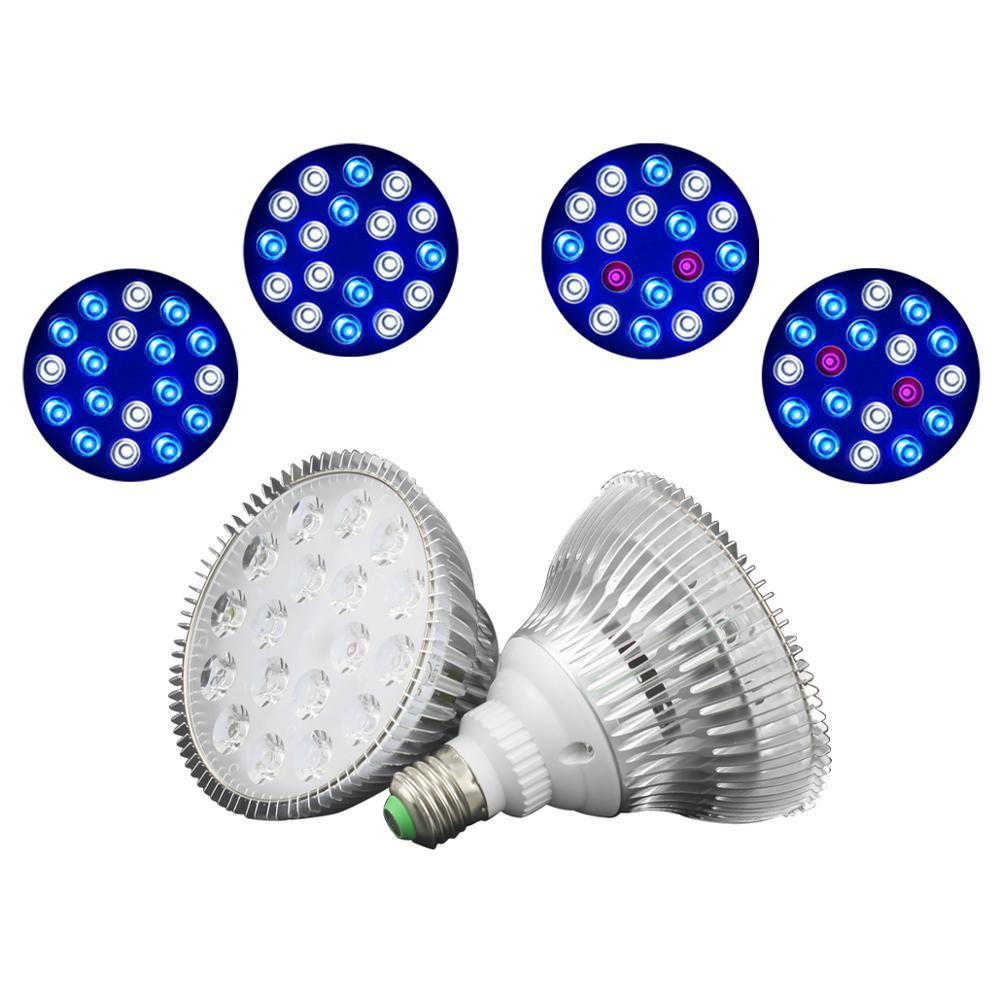 Oświetlenie do akwarium 54W LED oświetlenie do akwarium lampa do uprawy ryb UV IR czerwona niebieska zielona żarówka E27 zatapialne oświetlenie morskie