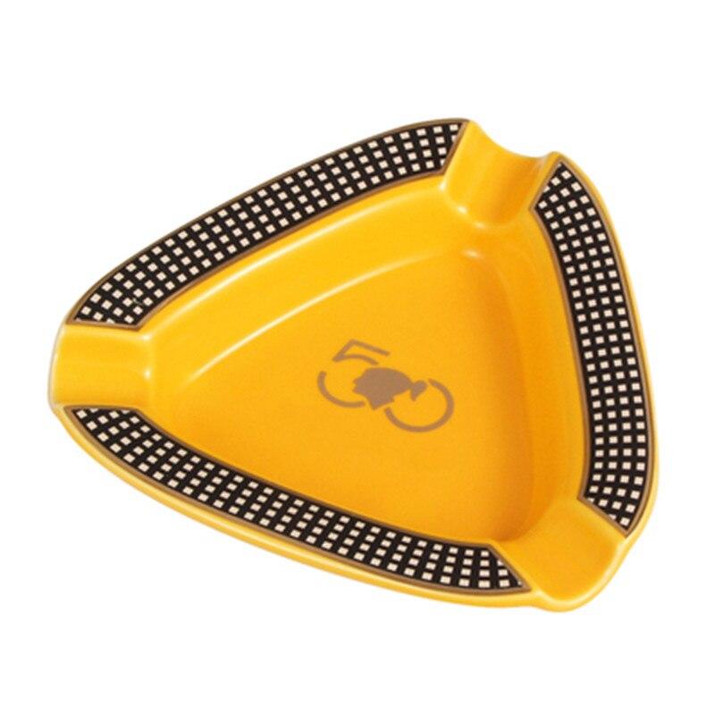 Cigar Gadgets Ceramic Cigar Ashtray Single Cigar Holder Round Ash Slot 4 Colors Yellow Tobacco Cigarette Ashtray Gift Box A1527