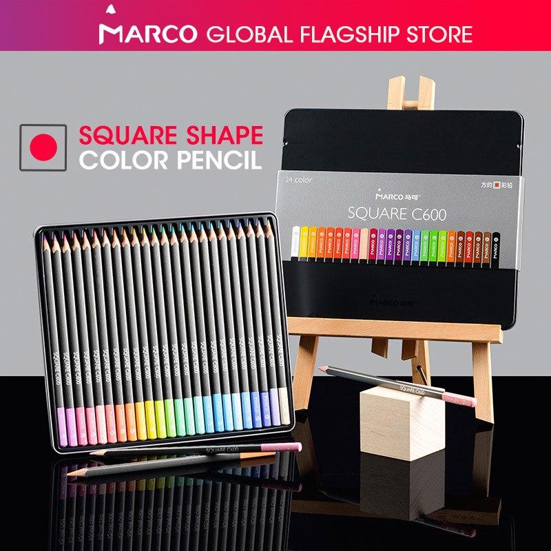 Marco 12/24 colores de cuerpo negro cuadrado Pastel lápices de Color de moda Color aceite lápiz profesional de lápices para el colegio
