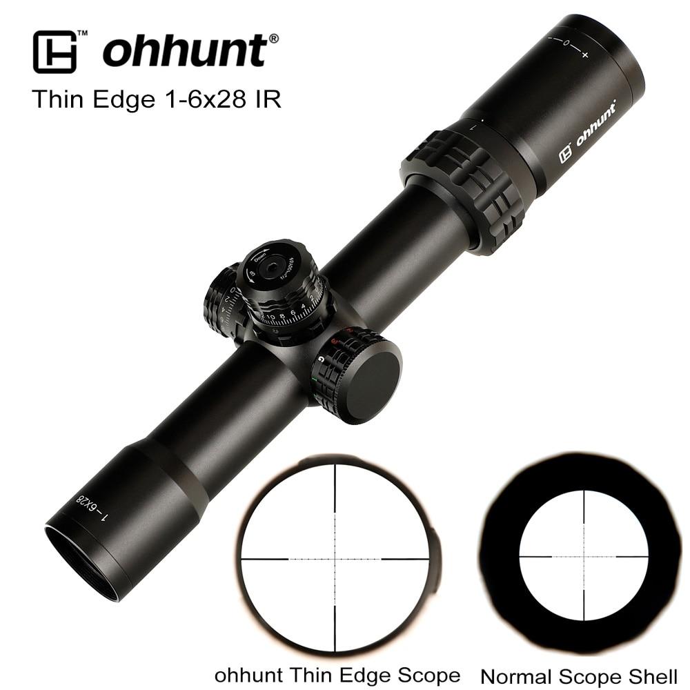 Caza ohhunt borde fino 1-6X28 IR Riflescopes Mil Dot vidrio grabado retícula RGB iluminación Turrets bloqueo reinicio Alcance de disparo