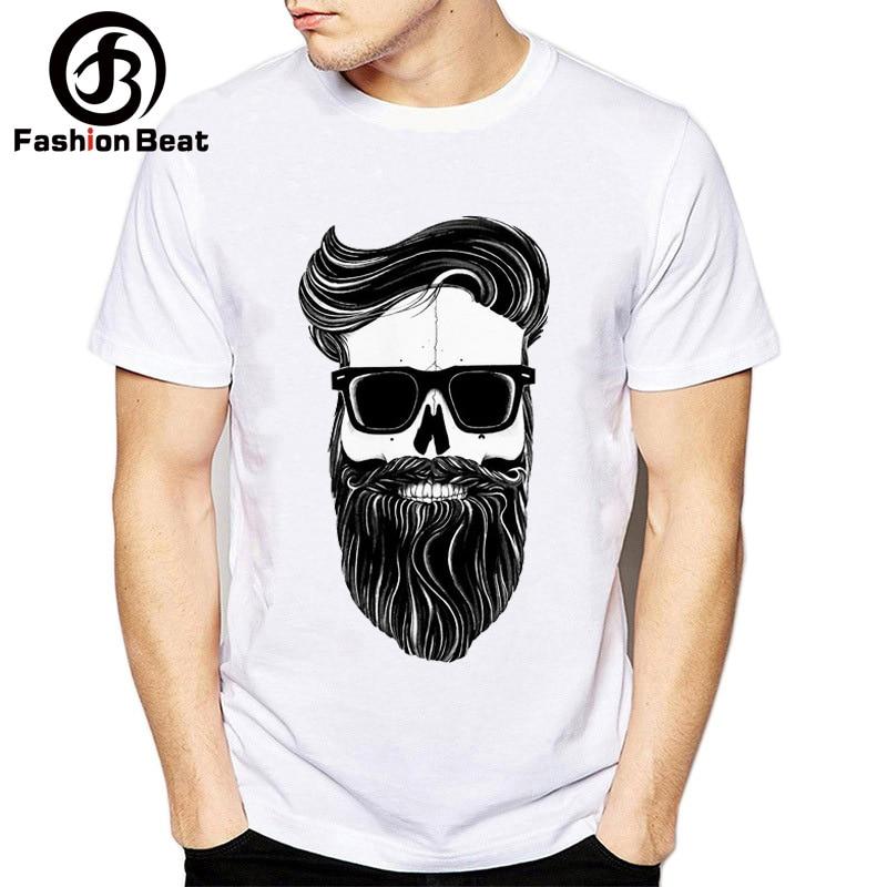 Funny Bearded Men Beard Skull Tshirt Men Super Soft T Shirt Homme Short Sleeve Plus Size Street Style Funny T-shirt Male Tees