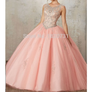 Hot Sale Gorgeous Pink Quinceanera Dresses Ball Gown Beading Crystal Tulle Sweet 16 Dress Party Gown Vestidos 15 anos
