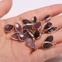 1pcs natural stone water drop shape faceted charm pendant amethysts for necklace earring accessories or jewelry making