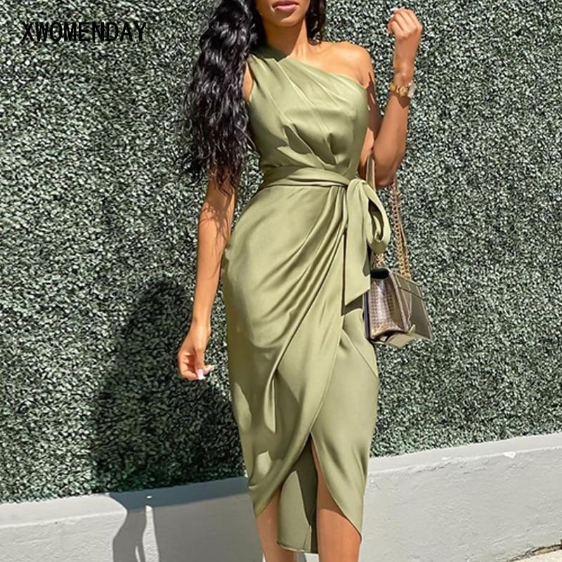 Long Dress Summer One Shoulder Bow Belt Sexy Women Backless Strapless Dresses Elegant Party Night 2020 Irregular Green Clothes