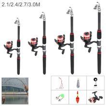 2.1-3m glass fiber Telescopic Spinning Fishing Rod and Reel set Combos Full Kit Fishing Gear Fishing accessories Fish hook