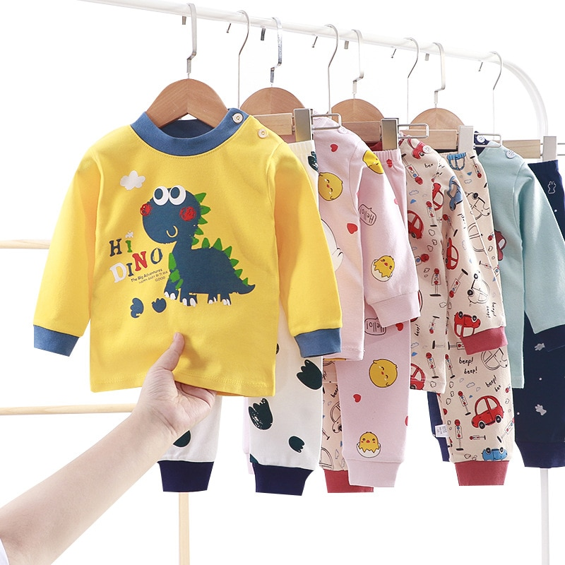Yg Brand Children's Underwear Set, Four Seasons New Baby Suit, Cartoon Long Sleeve Top + Long Pants