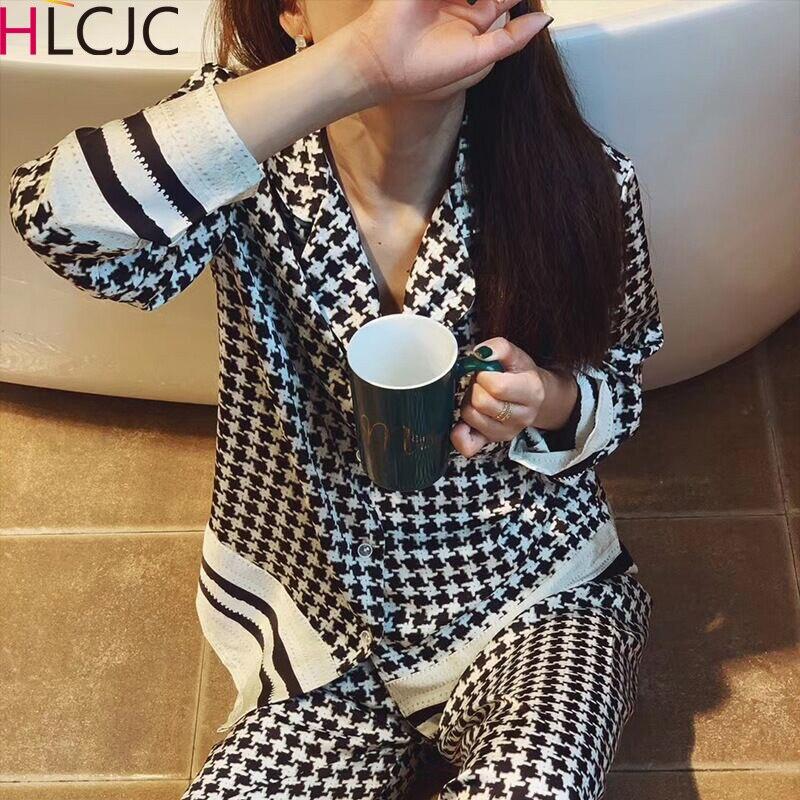 Classical Houndstooth Pyjamas Women 2020 New Summer Pijamas Set Silk Stain Sleepwear Pajamas for Women Pijama Feminino Pyjama