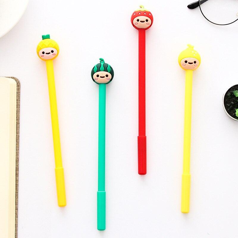 Bolígrafo de Gel con cabeza de muñeco Kawaii frutal de 0,5mm, plumas para firma, papelería Escolar para oficina, útiles escolares de escritura, regalo de papelería