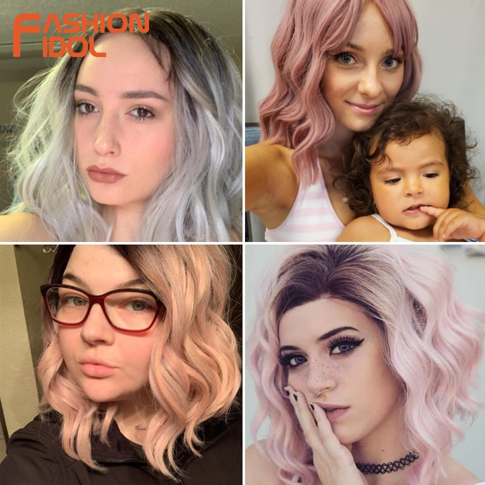 Peluca de moda IDOL de 12 pulgadas, peluca sintética, Bob corto, peluca con malla frontal, Rubio degradado, Peluca de pelo sintético ondulada rosa para mujeres negras