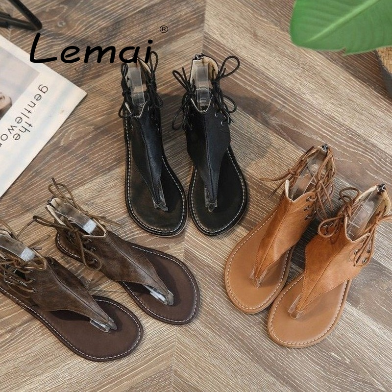 Summer Round Toe Women's Flip Flops Large Size Olid Color Roman Beach Holiday Ladies Sandals Causal Non-slip Lace-up Women Shoes