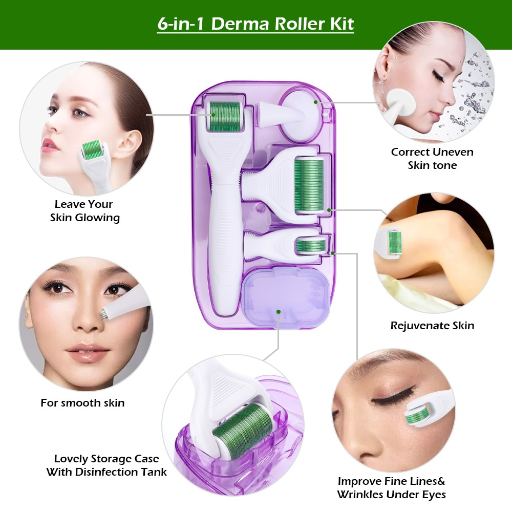 6 in 1 Microneedle Derma Roller Kit for Face and Body 300/720/1200 Titanium Dermaroller Micro Needle Facial Roller Skin Care enlarge