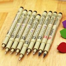 9pcs/lot Sakura Pigma Micron Pen Neelde Soft Brush Drawing Pen Highlighter Pen 005 01 02 03 04 05 08 1mm Brush full set