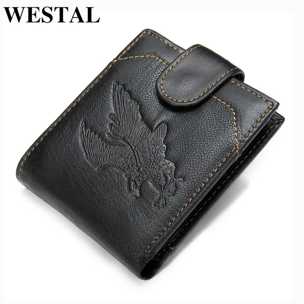 WESTAL mens purse genuine leather mens wallet vintage purse for men credit card holder male wallet slim money bag for men 7040