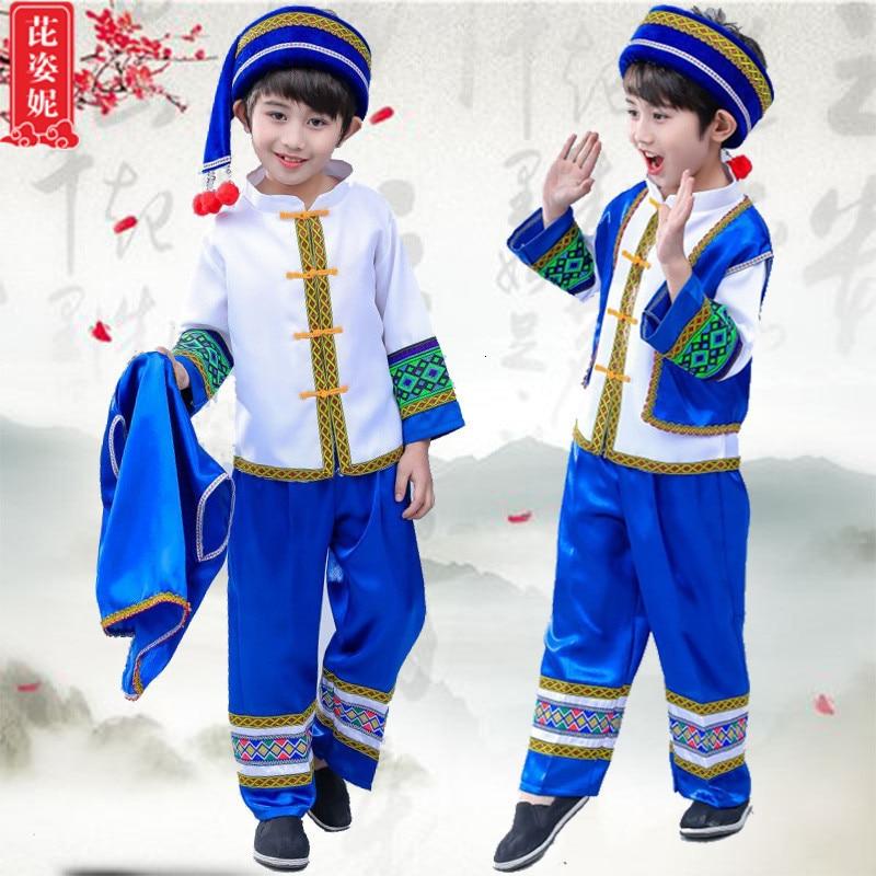 Children Miao Show Serve Zhuang Dance Serve Ethnic Minority Yi Torch Festival Dong Gourd Silk Performance Clothing