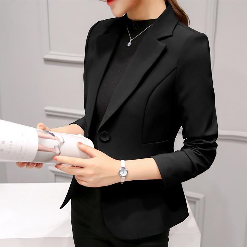 2021 الرسمي بليزرات سيدة مكتب بدلة عمل المرأة السوداء السترة جيوب جاكيتات معطف ضئيلة المرأة أنيقة دعوى السترة فام جاكيتات