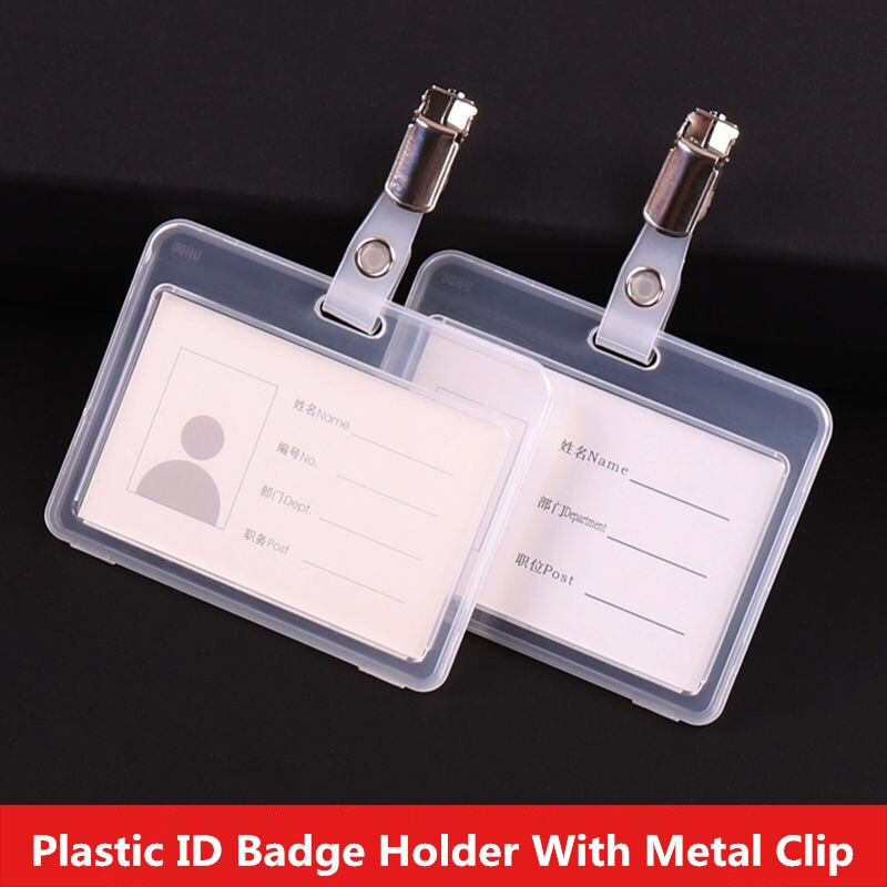 ID Badge Holder With Metal Badge Clips Hard Clear Plastic Horizontal ID Card Holder For Work ID Key Card