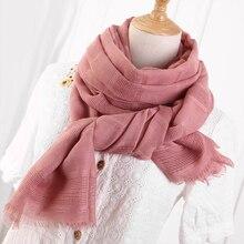 Foulard en coton et lin ajouré pour femme   Écharpe femme couleur unie, musulman, rouge, noir, foulard Hijab, chapeaux, rouge, blanc, rose