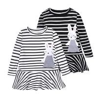 childrens clothing girls dress baby girls dress cotton striped rabbit patch embroidered long sleeved spring and autumn dress