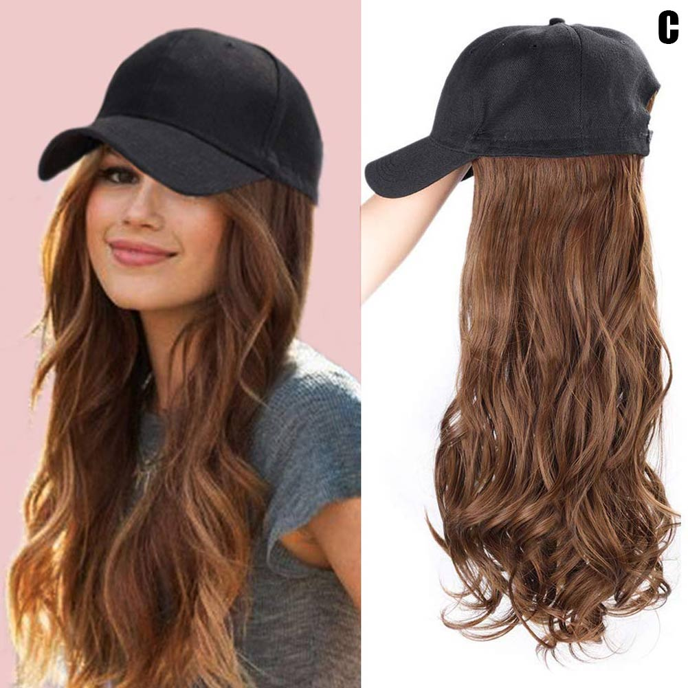 Baseball Hat with Curly Wavy Long Hair Wigs Synthetic Hair Caps for Women Girls Best Sale-WT