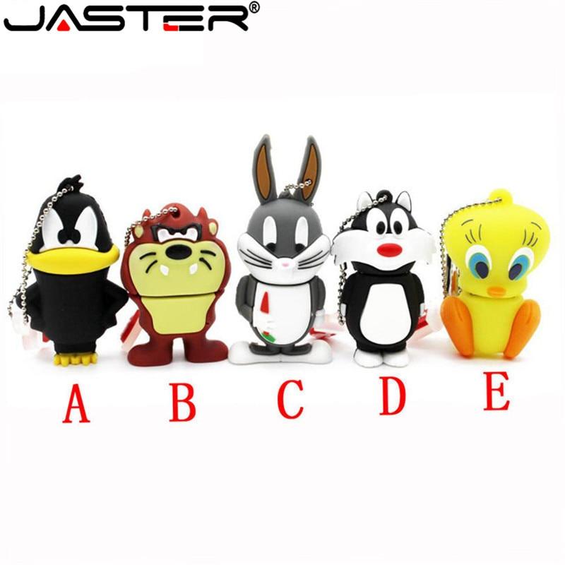 JASTER Looney Tunes usb flash drive 64GB 32GB pendrive 16GB 4GB bugs bunny Daffy duck Cartoon Hot Sale animal pen drive usb 2.0